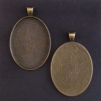Antique Brass Large 30x40mm Oval Bezel - 1pc