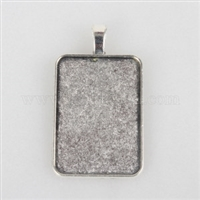 Silver 25x35mm Rectangle Frame Bezel - 1pc
