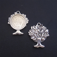 Silver Tree 20mm Bezel - 1pc