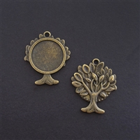 Antique Brass Tree 20mm Bezel - 1pc