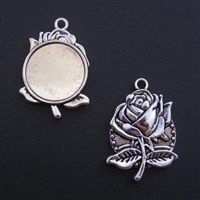Silver Rose 20mm Bezel - 1pc
