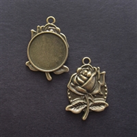 Antique Brass Rose 20mm Bezel - 5pc