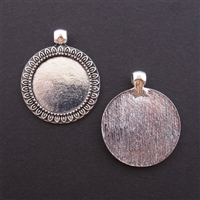 Antique Silver Mini Round Frame 25mm Bezel - 5pc