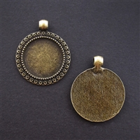 Antique Brass Mini Round Frame 25mm Bezel - 1pc