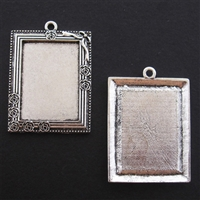 Antique Silver Rectangle Frame 36 x 45mm Bezel - 5pc