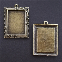 Antique Brass Rectangle Frame 36 x 45mm Bezel - 1pc
