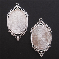Silver Ornate Oval 36x60mm Bezel - 1pc