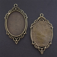 Antique Brass Ornate Oval 36x60mm Bezel - 1pc