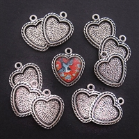 Silver Heart 25mm Bezel - 5pc