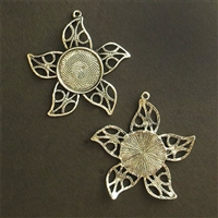 Silver Flora Filigree 20mm Bezel - 5pc