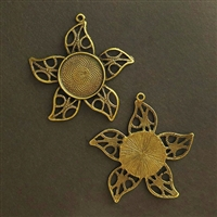 Antique Brass Flora Filigree 20mm Bezel - 1pc