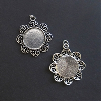 Silver Round Filigree 20mm Bezel - 5pc