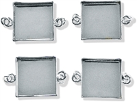 LP Base Metal Jewelry Components: Square Links Bezels - Silver Color
