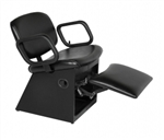 QSE Lever-Control shampoo chair with kick-out legrest, base of chair in black