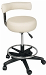 Stool with Gas Lift, Back Cushion and Foot Ring