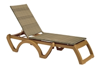 Java All-Weather Wicker Chaise w/Teakwood