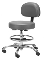 Chrome Pneumatic Stool with Back