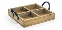"Asheville Series - 6.75"" Square Rustic Wood Holder"