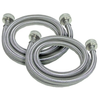 6 Ft. (SET OF 2) Stainless Steel  Fill Inlet Hose for Whirlpool, Kenmore , Maytag Washer