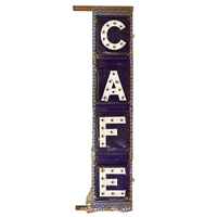 Early 20th Century American Enameled Double-Sided Cafe Sign