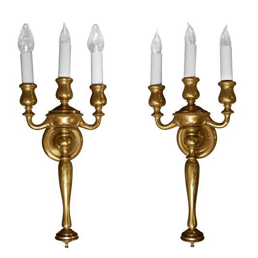 Pair of early 20th Century American Three-Arm Sconces