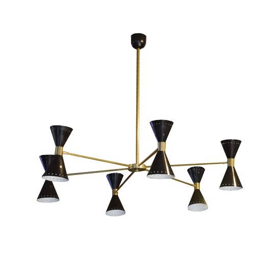 Italian Mid-Century Six-Arm Chandelier in the style of Stilnovo