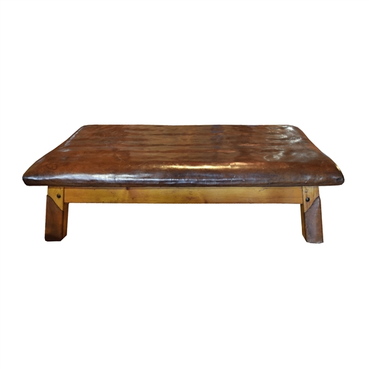 Wood and Leather Vaulting Bench