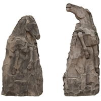 Pair of Monumental Carved Limestone Horses