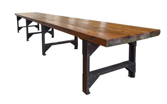 Massive American Pine and Iron Table