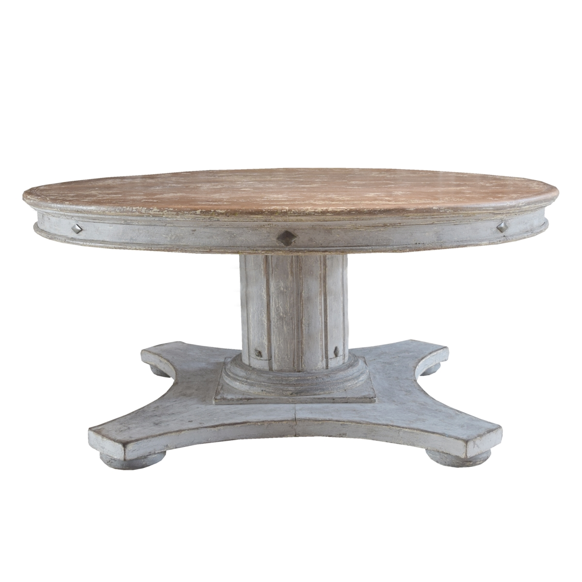Italian Round Wood Dining Table With Leaf
