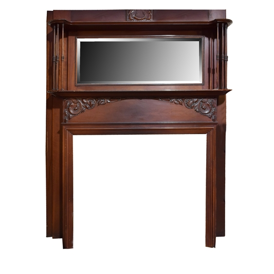 American Full Mantel with Spindles and Beveled Mirror