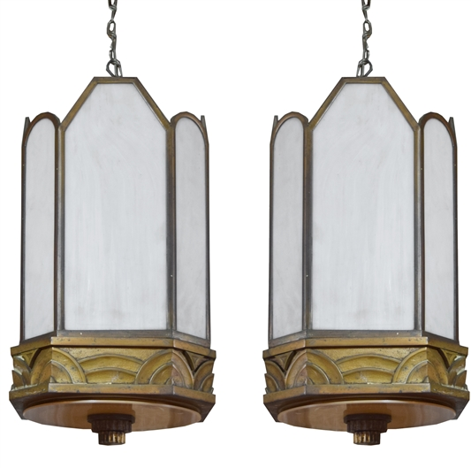 Pair of Art Deco Bronze Chandeliers