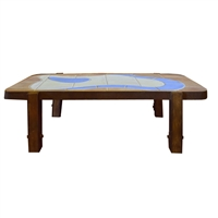 French Mid-Century Wood and Tile Table by Barrois for Vallauris