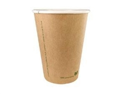 12 oz. Kraft Biodegradable & Compostable Hot Paper/PLA Cups Case of 1000