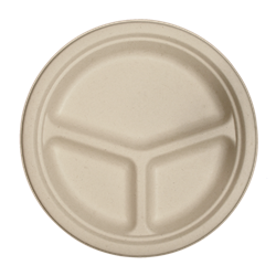 "World Centric Compostable 10"" Fiber Three Compt Plates 700/Case"