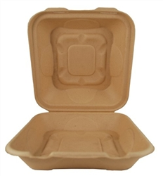 World Centric Compostable 9x9x3 Fiber Take Out Containers -Single Compt 300/Case