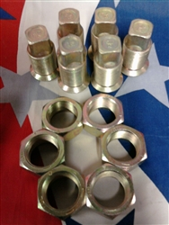 M35A2 2.5 ton Left Side Rear Outer & Inner Lug Nuts will do 1 set of duels