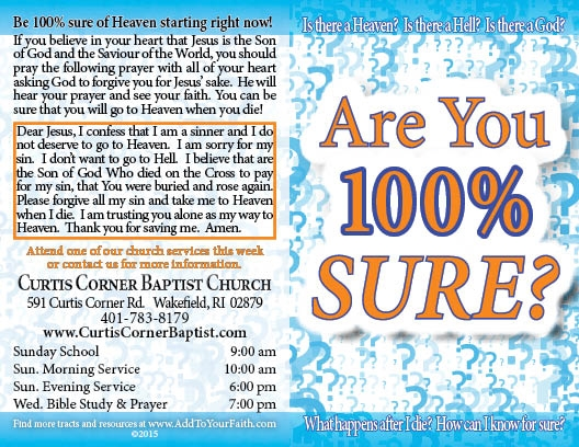 Are You 100% Sure? Gospel Tract