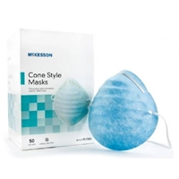 McKesson Cone Style Face Mask: Blue, 50 ct/bx