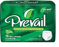 Prevail® Super Plus Underwear: Small/Medium, 18 ct/bag