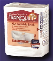 Tranquility Bariatric Disposable Briefs: XL +, 8 ct/bag