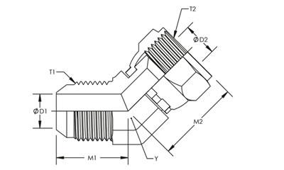 6502-16-16 Hydraulic Fitting 1 Male JIC X 1 Female JIC Swivel 45 Degree Carbon Steel