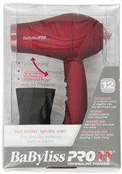 Babylisspro TT Tourmaline Titanium Travel Dryer, Red