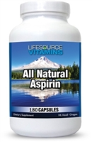 Aspirin - All Natural - Safe - 180 Capsules - Proprietary Formula - White Willow Bark NEW LARGER / VALUE SIZE