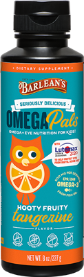 Barlean's Kid's Omega Pals Hooty Fruity Tangerine Fish Oil + Eye Nutrition  8 oz