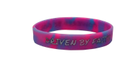 Driven by Faith & Powered By God Bracelet - Youth Pink/Blue Swirl