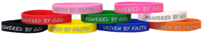 Driven by Faith & Powered By God Bracelet - Youth Green/Yellow Swirl