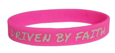 Driven by Faith & Powered By God Bracelet - Youth Bright Pink
