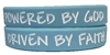 Driven by Faith & Powered By God Bracelet - New Light Blue/White