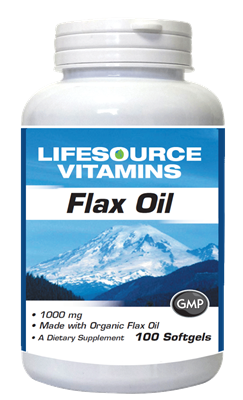 Flax Oil 1,000 mg - Flax Seed Softgels - Organic 100 Softgels